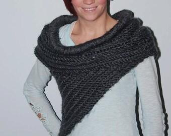 KAT COWL with RINGS Inspired Vest Scarf Handknit Soft Archers Armor Huntress Cross Body Hunting Costume Neckwear