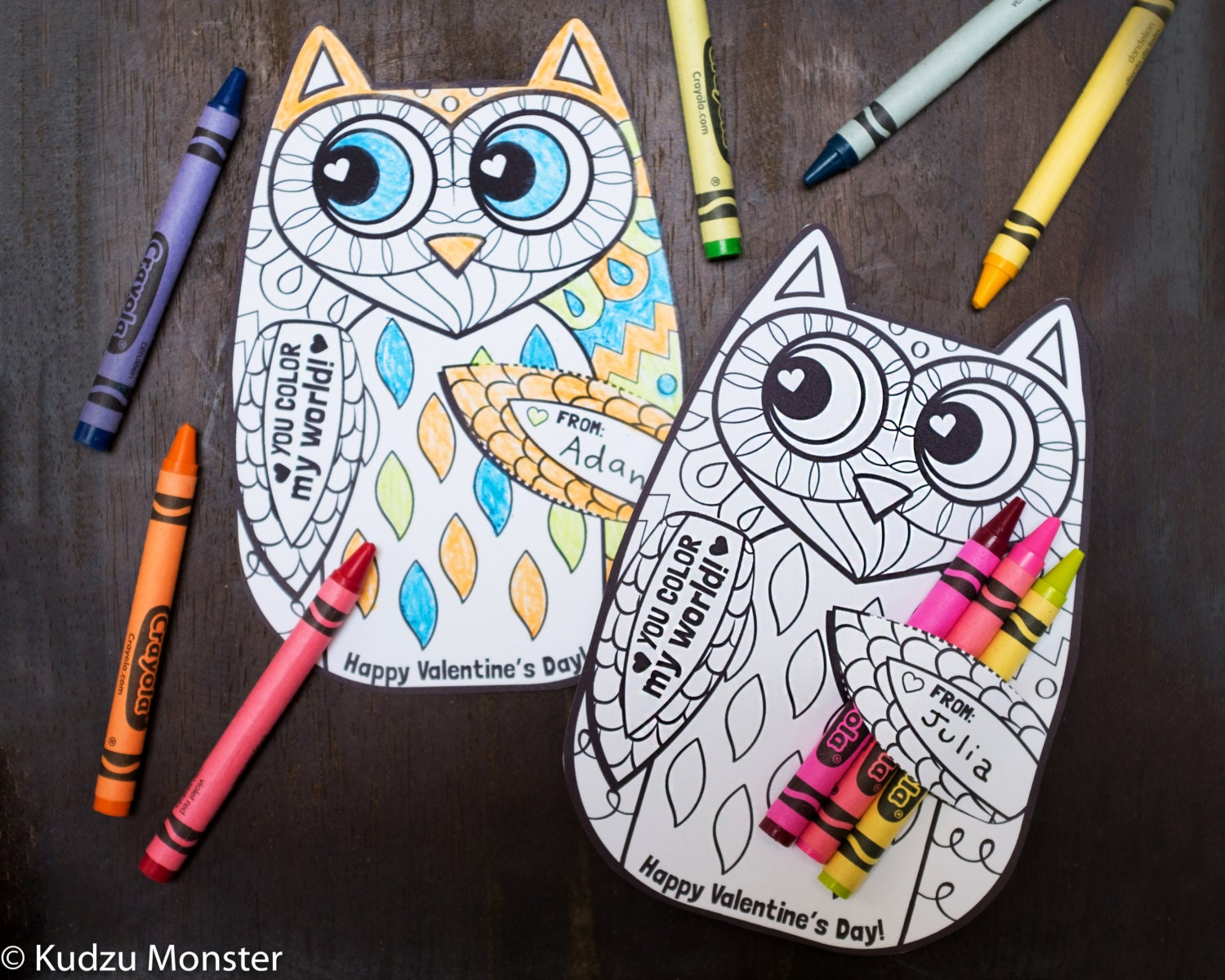 Owl Coloring Page Valentine with crayon holder Cute unique