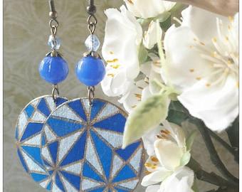 Paper, blue, gold earrings