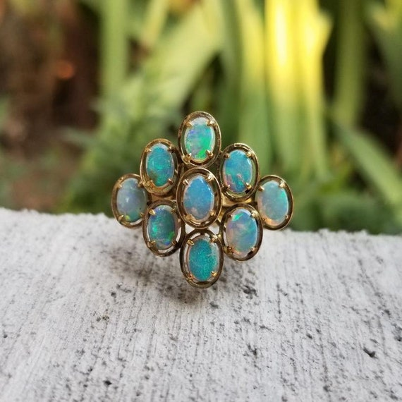 Vintage mid century English .375 9CT gold MASSIVE collet set opal cluster satellite statement ring, size 6-1/4, cocktail ring