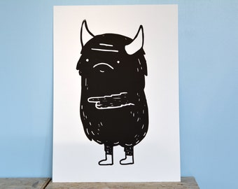 Monster screen print poster limited edition (A3, Black) art print