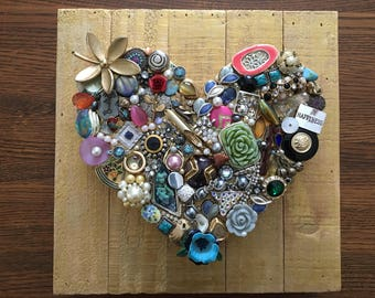 Recycled Jewelry Heart Collage