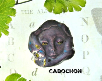 Cabochon bead, flat bead, artisan handmade bead, ceramic focal cabochon bead,    # 191