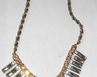 Fabulous BANANA REPUBLIC Vintage Golden Rhinestone Necklace