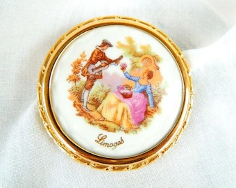 Vintage LIMOGES French Porcelain Fragonard Brooch - Signed - Trombone Clasp - Large 2 1/4""