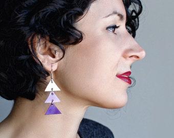 Arrow leather earrings, Triangle Dangle Earrings, white, lavender and purple,  boho tribal earrings, Unique Gift for Her