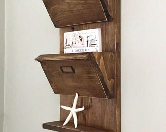 Hanging Mail Organizer Wall - Wooden Entryway Organizer - Mail Holder - Mail Sorter - Dog Leash Holder - Coat Rack - Key Holder -