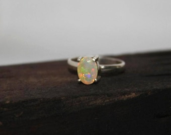 Welo opal sterling silver ring 7 US size , Rainbow fire Opal Ring, White Opal Ring, ethiopian opal faceted Oval 8x6 mm silver ring:- 5