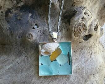 Mosaic sea glass pendant in Aqua and Honey Amber - sea glass jewelry