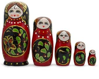 "6.5"" Set of 5 Red & Black Wooden Russian Nesting Dolls Matryoshka"