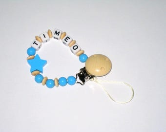 Pacifier clip Pearl blue wood + letters name standard this