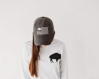 Black buffalo flag dad hat