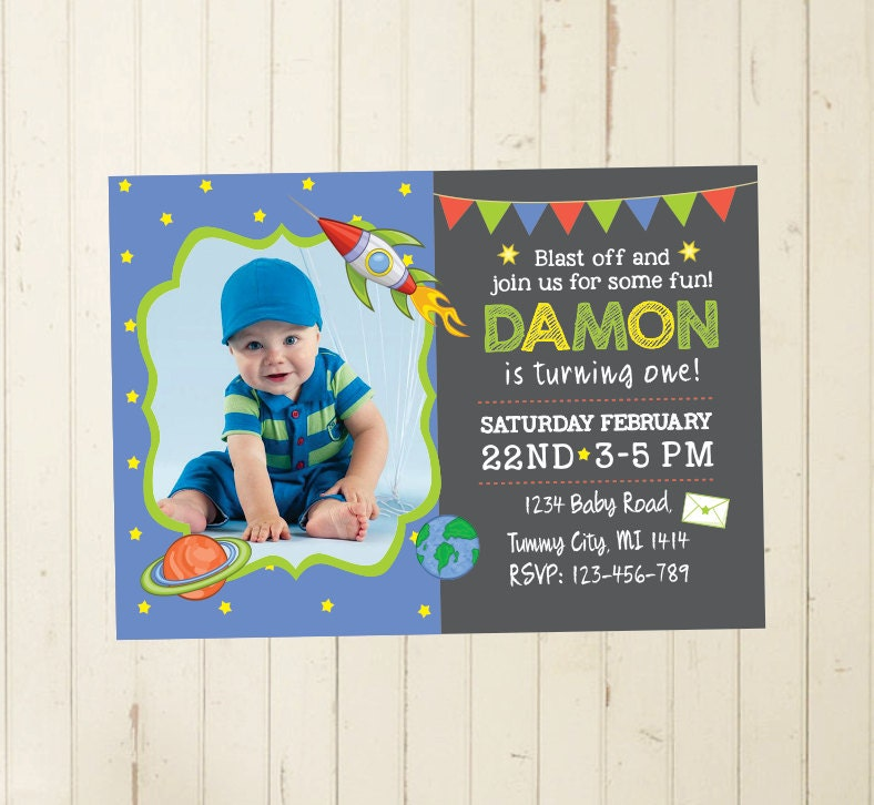 space invitation boy first birthday boy first year chalkboard