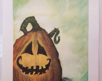 Silly Pumpkin watercolor painting