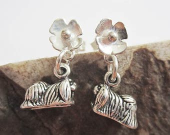 Pekingese Poppy Earrings - Sterling Silver Mini - Post Earrings
