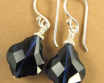 Baroque blue crystal earrings made w/ Swarovski Elements. Big.Sterling silver.