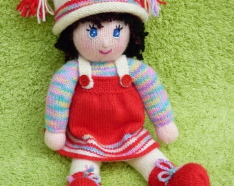 Doll knitting pattern: doll Lea and her red dress