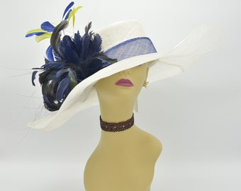 SD06(Ivory/Navy/Royal Blue/Lime Green)Kentucky Derby Hat, Wedding Hat, Easter Hat, Tea Party Hat, Formal Hat Wide Brim Woman's Sinamay Hat