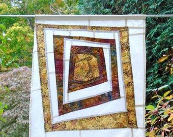 Composition Asymétrique ~ fiber art ~stained Glass Look Batik Fabric Pojagi Window Treatment ~ bohemian boho cafe / bathroom / dorm curtains