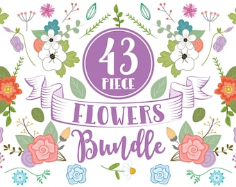 Clipart Flowers Bundle | clip art,flowers,flower,flower clipart,clipart,flower clip art,watercolor flowers,bundle,spring flowers