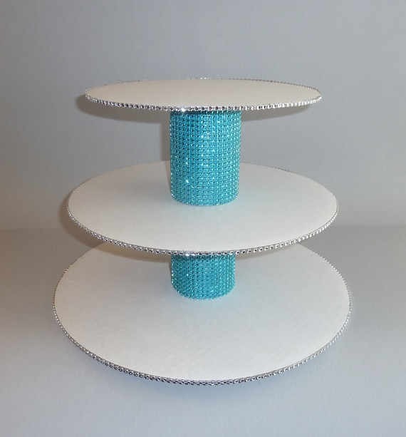 silver glitter wedding cake stand tier teal aqua turquoise blue silver bling rhinestone wedding 19862
