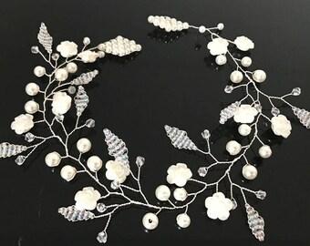 beautiful elegant handmade wedding bridal flower hair piece  bridal hair accessory wedding headpiece