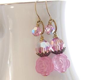 Pink Crystal Earrings Swarovski Crystal Jewelry Rose Earrings Bronze Brass Pink Bridesmaid Earrings Romantic Rustic Wedding Jewelry