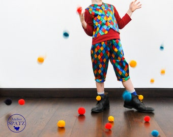 Jester Harlequin Clown Costume |  Carnival Fasching Clown | Colourful Circus Clown Vest | Mardi Gras | Circus Party | Jester Kids Costume