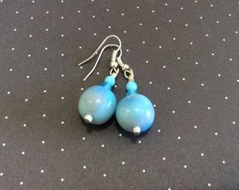 Blue Translucent Polymer Clay Earrings Handmade