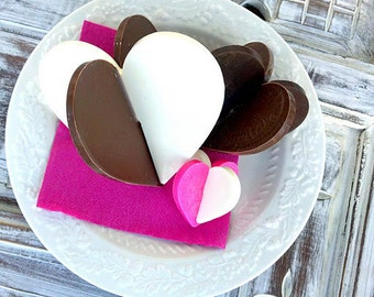 Dark Chocolate 3D Hearts (Three 3D Hearts)