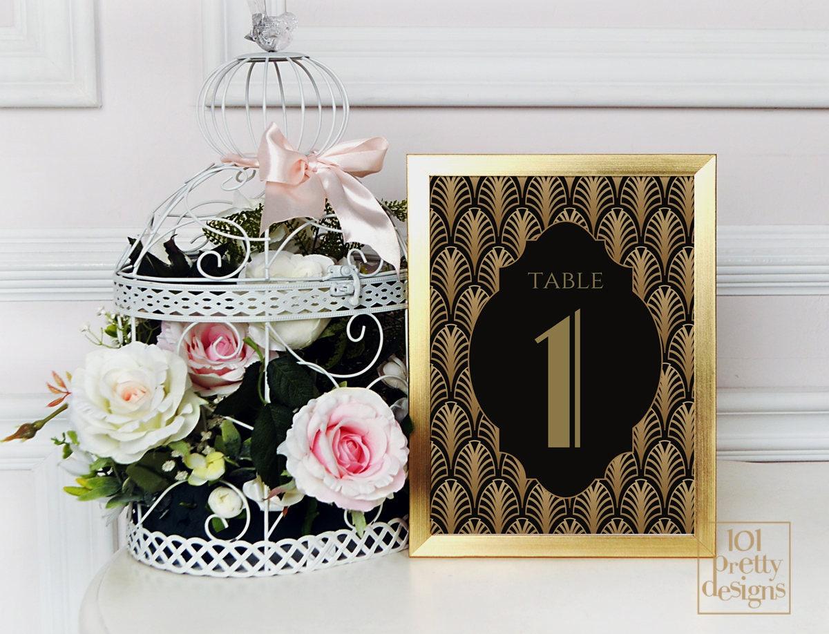 Art-Deco-Hochzeit Karten druckbare Tabelle Zahlen Vorlage gold