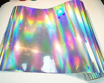"Silver Oil Slick Vinyl, Silver Oil Slick Holographic Effect Adhesive Vinyl 12x12"" Sheets Permanent Vinyl Oracal 651 Equivalent Vinyl"