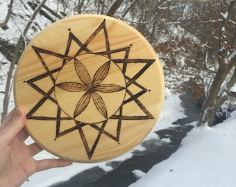Woodburned One of a kind crystal grid