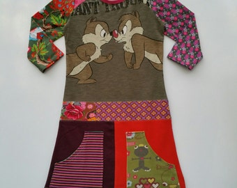 Size 10 (55 inch height) upcycled girls dress with Disney print Chip 'n Dale