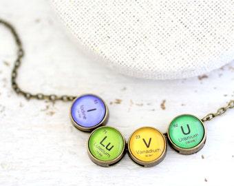 i love you i love you necklace periodic table i lu v u - Au Pendant Periodic Table