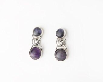 Purple Majesty Amethyst and Iolite Sterling Silver Post Earrings