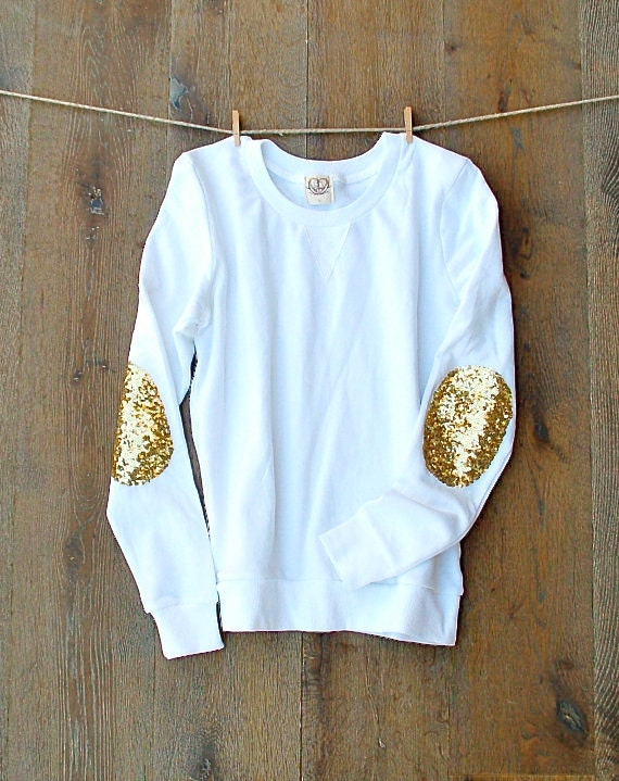 Sequin Elbow Patches / Womens Sweatshirt / Elbow Patch Shirt
