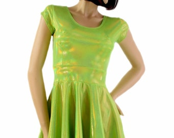 Lime Green Holographic Scoop Neck Cap Sleeve Fit and Flare Skater Skate Dress Rave Clubwear EDM - 154212