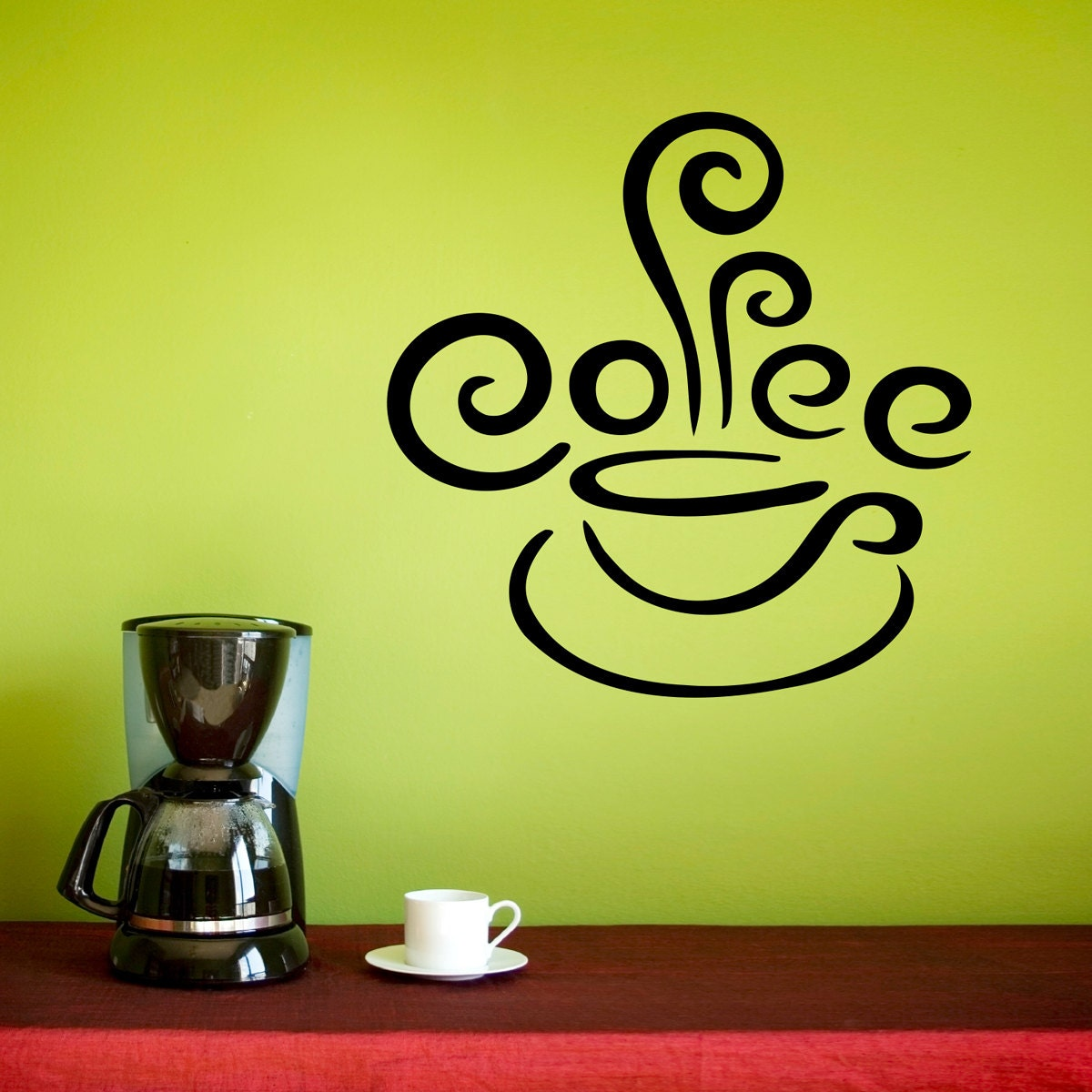 Coffee Wall Decal Kitchen Decor Coffee Cup Decal with