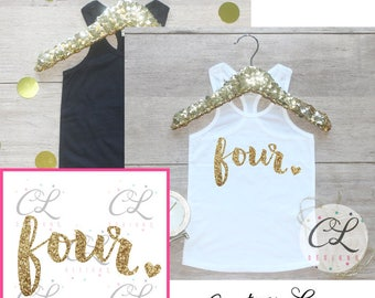 Birthday Girl Shirt / Baby Girl Clothes 4 Year Old Outfit Fourth Birthday Shirt 4th Birthday Girl Outfit Tank Birthday Party Four Shirt 224