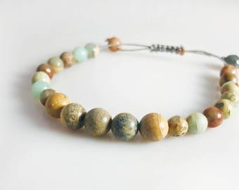 Handmade Slip Knot Bracelet With Jasper Beads