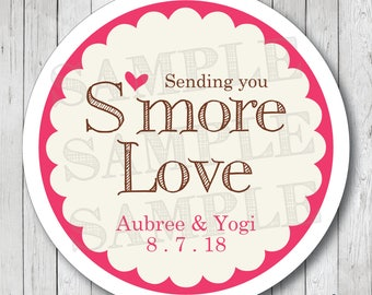 Smore Love with Heart Personalized Wedding Stickers or Tags
