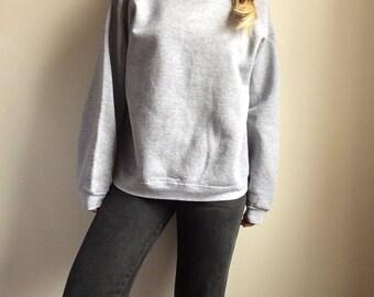 Vintage gray sweatshirt vintage grey sweatshirt gray pullover vintage pullover 80s sweatshirt 70s sweatshirt womens m sweatshirt raglan