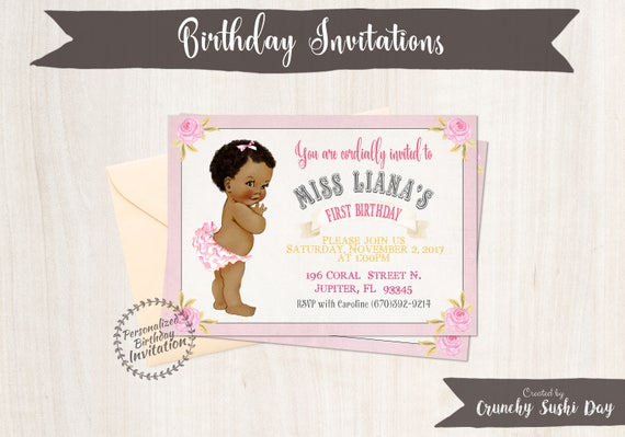 1st birthday invitations crunchy sushi day baby girl first birthday party invitations african black girl birthday invitations first filmwisefo