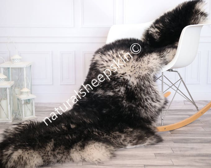 Double Sheepskin Rug | Long rug | Shaggy Rug | Chair Cover | Runner Rug | black Rug | Carpet | mouflon Sheepskin