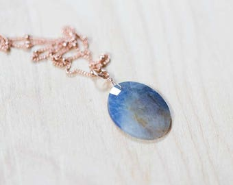 Rose Cut Sapphire Necklace on Sterling Silver or Rose Gold Filled Satellite Chain, Sapphire Pendant, Septmember Birthstone, Oxidized Silver