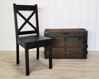 Customize Your Stain, Wood Chair, Rustic Dining Chair, X Back Chair, Farmhouse Chair, Kitchen Chair, Desk Chair