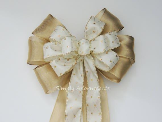 Gold Ivory Wedding Pew Bow Ivory and Gold Wedding Ceremony Decoration Gold Ivory Wedding Aisle Bow Ivory gold Harlequin Wired ribbon Bow