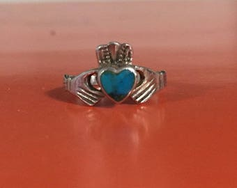 Celtic claddagh Irish  sterling silver ring