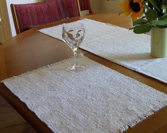 Placemats pair - Natural White Handwoven washable, easy care